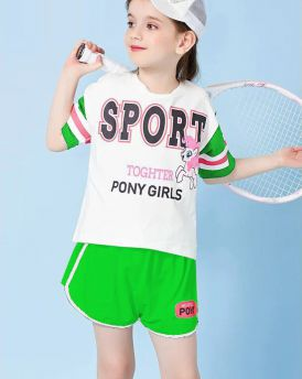 Đồ bộ bé gái pony thể thao màu xanh cỡ 30kg - 50kg