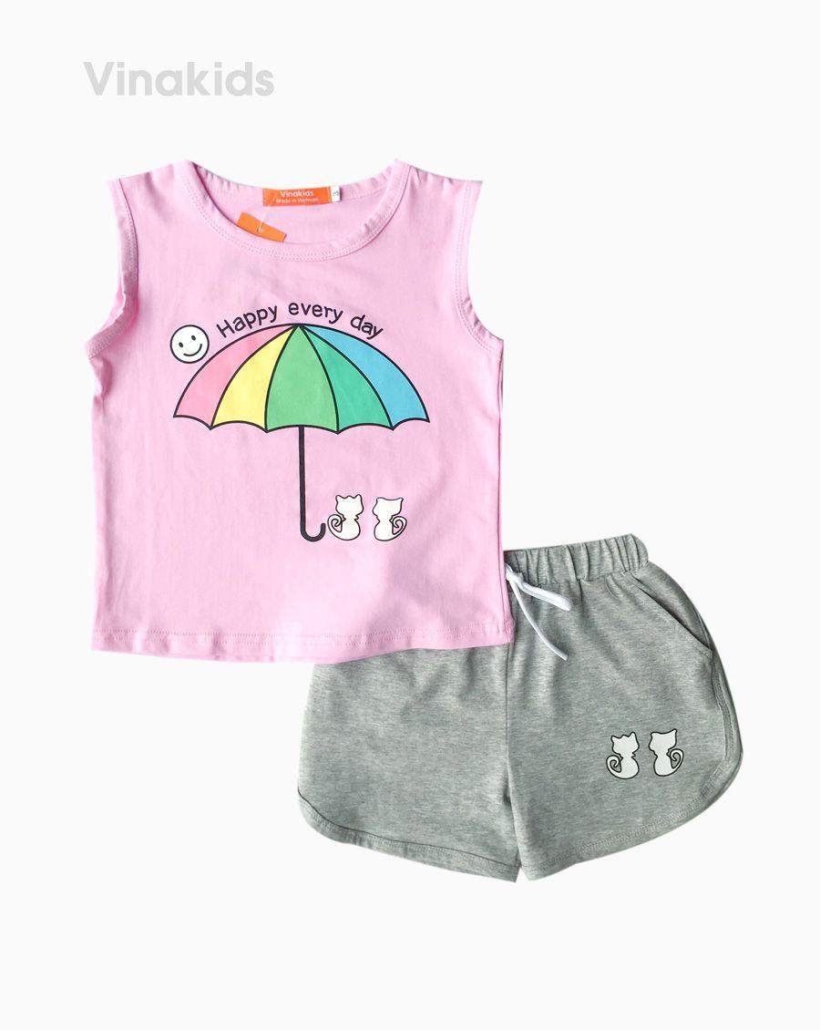 Đồ bộ bé gái sát nách hình ô màu hồng (2-8 tuổi)