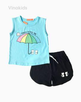 Đồ bộ bé gái sát nách hình ô màu xanh (2-8 tuổi)