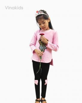 Đồ bộ bé gái thêu đắp gấu màu hồng phấn size đại