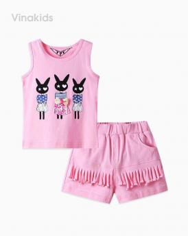 Đồ bộ bé gái thỏ quần tua rua màu hồng phấn
