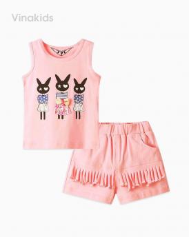 Đồ bộ bé gái thỏ quần tua rua màu hồng tôm