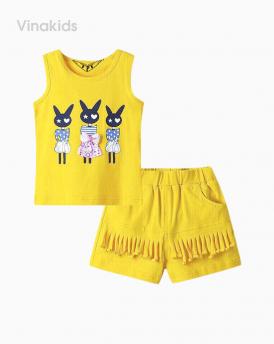 Đồ bộ bé gái thỏ quần tua rua màu vàng