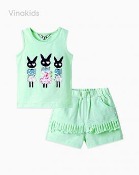 Đồ bộ bé gái thỏ quần tua rua màu xanh ngọc