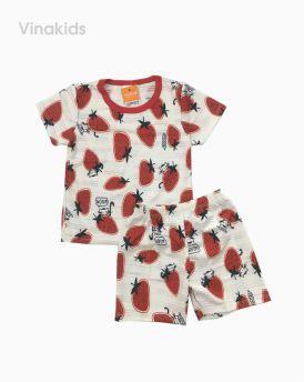 Đồ bộ bé gái thông hơi hình dâu tây màu đỏ (1-5 tuổi)