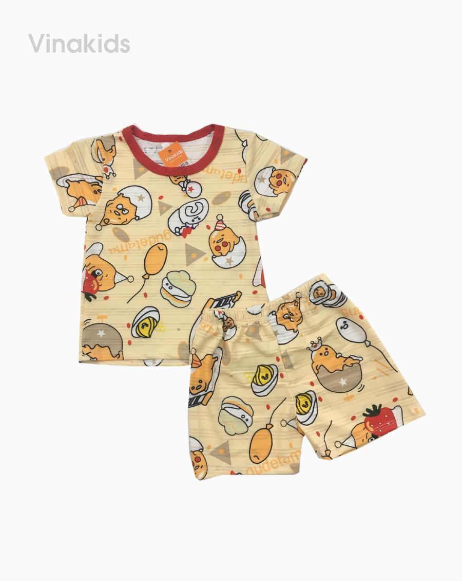 Đồ bộ bé gái thông hơi họa tiết màu vàng nhạt (1-5 tuổi)