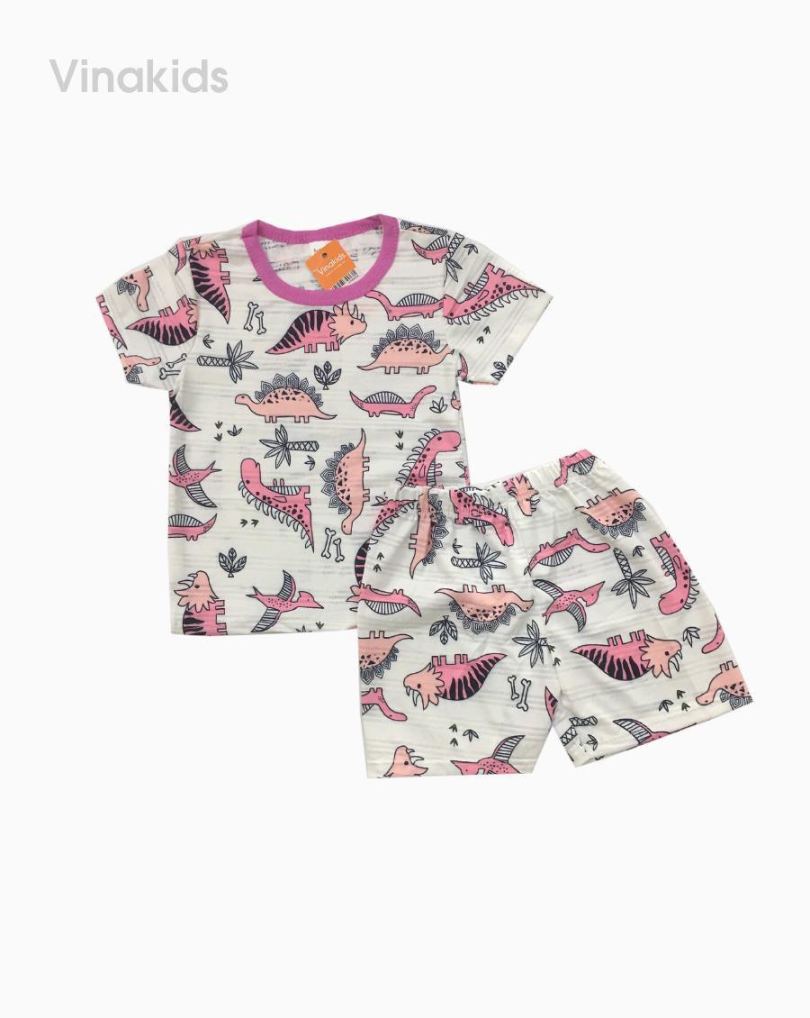 Đồ bộ bé gái thông hơi khủng long màu hồng (1-5 tuổi)