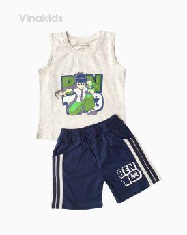 Đồ bộ bé trai Ben 10 quần sọc đứng màu ghi (1-7 tuổi)