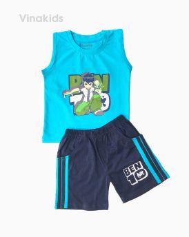 Đồ bộ bé trai Ben 10 quần sọc đứng màu xanh (1-7 tuổi)