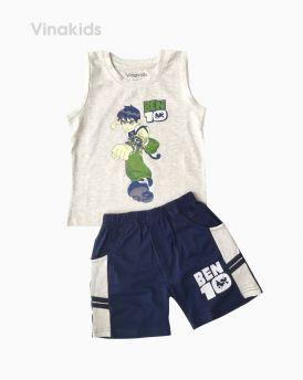 Đồ bộ bé trai Ben 10 quần sọc ngang màu ghi (1-7 tuổi)