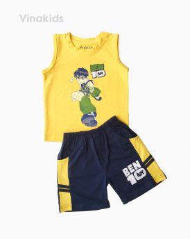 Đồ bộ bé trai Ben 10 quần sọc ngang màu vàng (1-7 tuổi)