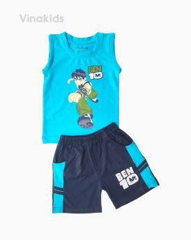 Đồ bộ bé trai Ben 10 quần sọc ngang màu xanh (1-7 tuổi)