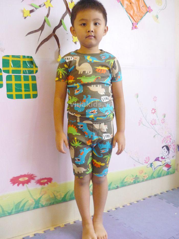 Đồ bộ bé trai Carters xuất xịn hoa văn nâu mẫu nhí mặc