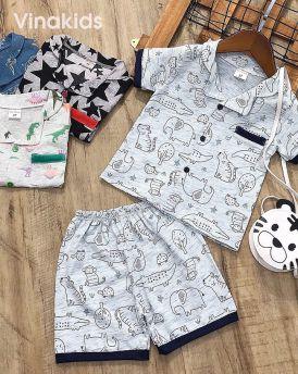 Đồ bộ bé trai Pijama màu ghi (1-5 tuổi)