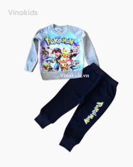 Đồ bộ bé trai Pokemon màu ghi