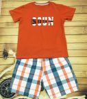 Đồ bộ bé trai Soun màu cam đất quần thô size 25kg -45kg