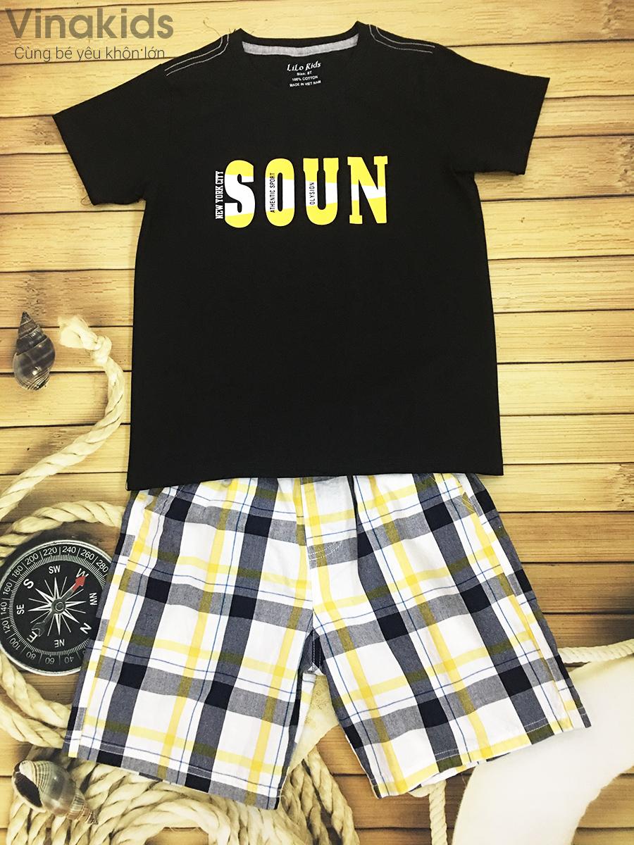 Đồ bộ bé trai Soun màu đen quần thô size 25kg -45kg
