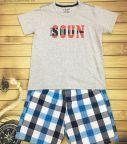 Đồ bộ bé trai Soun màu ghi quần thô size 25kg -45kg