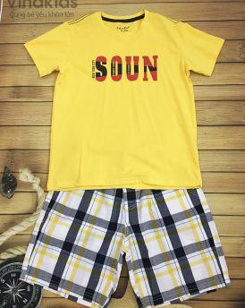 Đồ bộ bé trai Soun màu vàng quần thô size 25kg -45kg