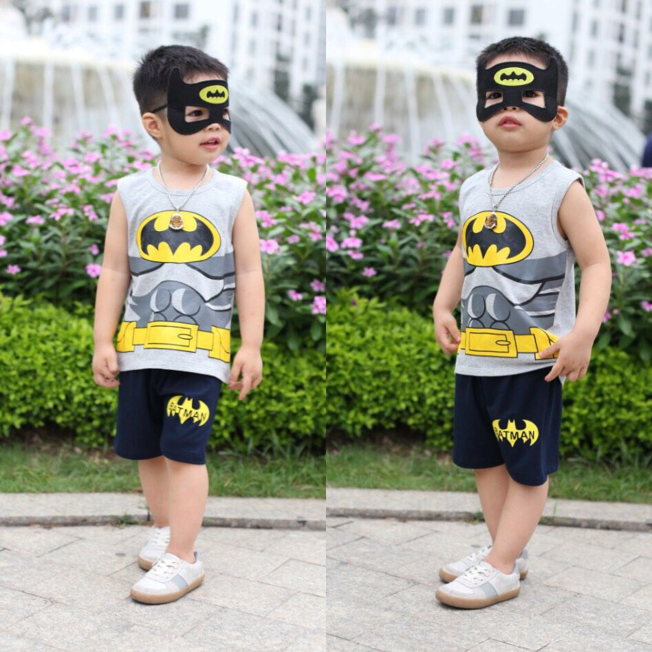 Đồ bộ bé trai batman kèm mặt lạ màu ghi