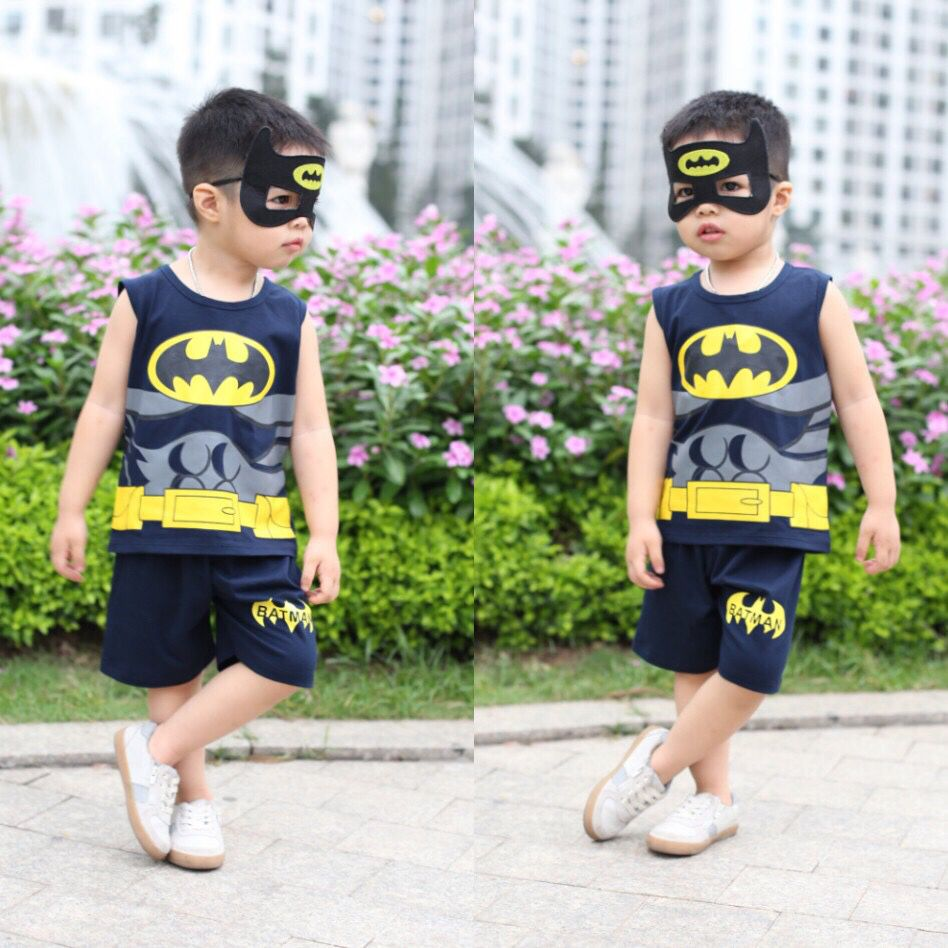 Đồ bộ bé trai batman kèm mặt lạ màu tím than