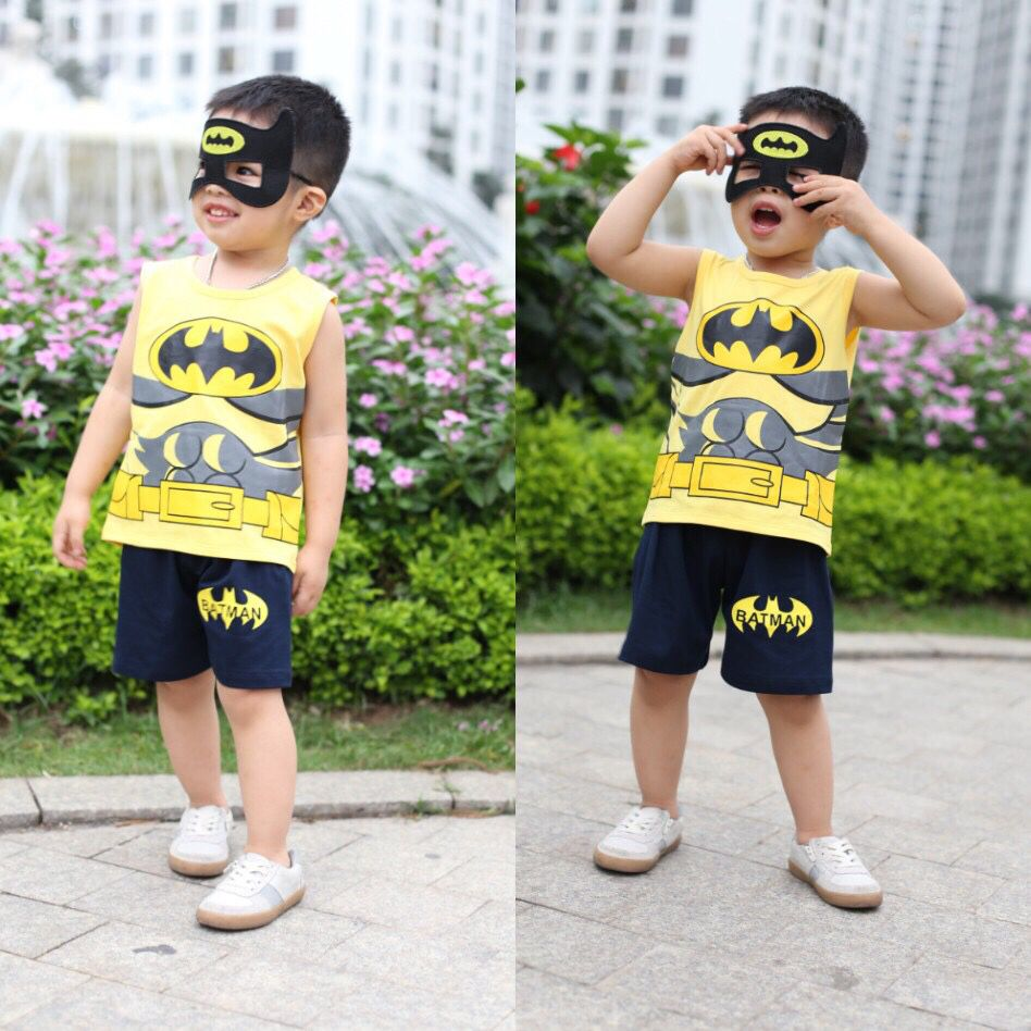 Đồ bộ bé trai batman kèm mặt lạ màu vàng