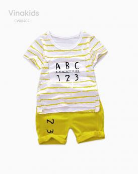 Đồ bộ bé trai chữ cái và số đếm màu vàng