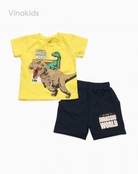 Đồ bộ bé trai cotton khủng long màu vàng