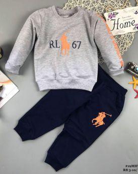 Đồ bộ bé trai dáng thể thao RL67 màu ghi (2-8 tuổi)
