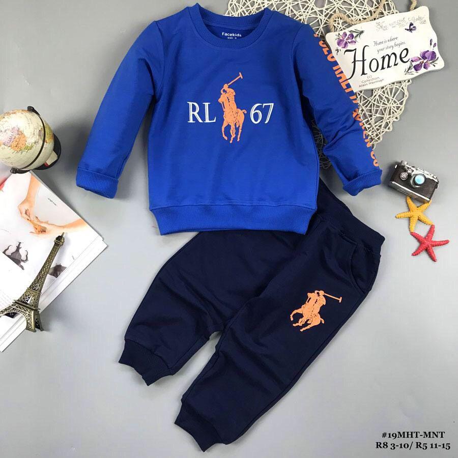 Đồ bộ bé trai dáng thể thao RL67 màu xanh (2-8 tuổi)