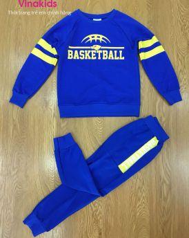 Đồ bộ bé trai in chữ Basketball màu xanh (7-11 tuổi)