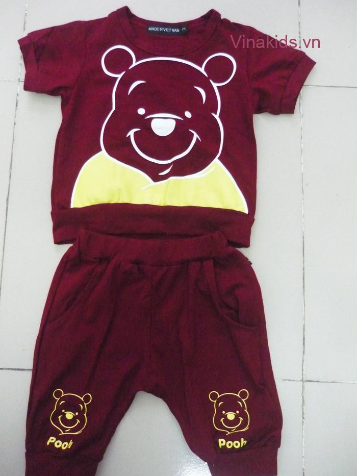 Đồ bộ bé trai gấu Pooh màu đỏ booc đô