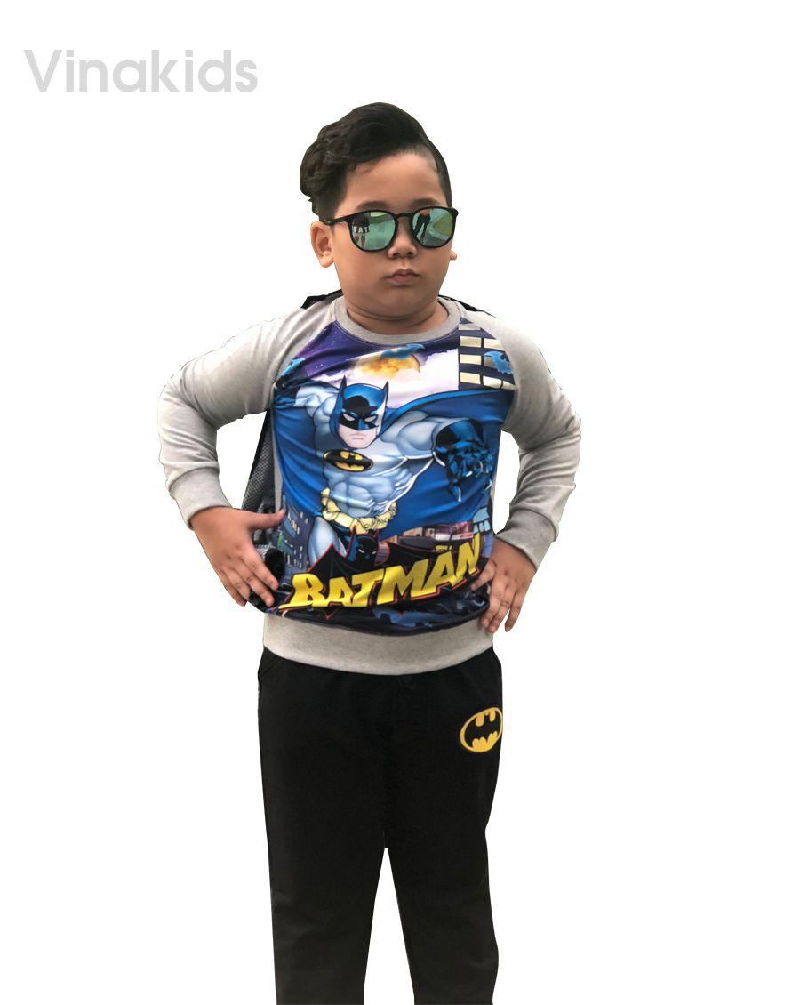 Đồ bộ bé trai hình Batman 3D áo choàng màu ghi (1-7 tuổi)
