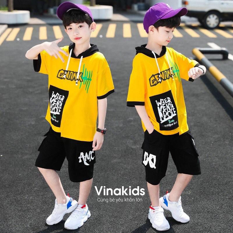 Đồ bộ bé trai hip hop màu vàng size 25kg - 45kg