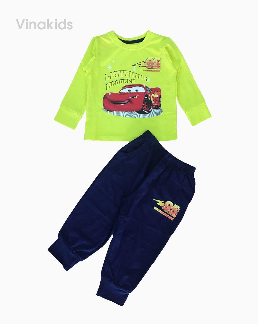 Đồ bộ bé trai họa tiết ô tô MC màu cốm (1-7 tuổi)