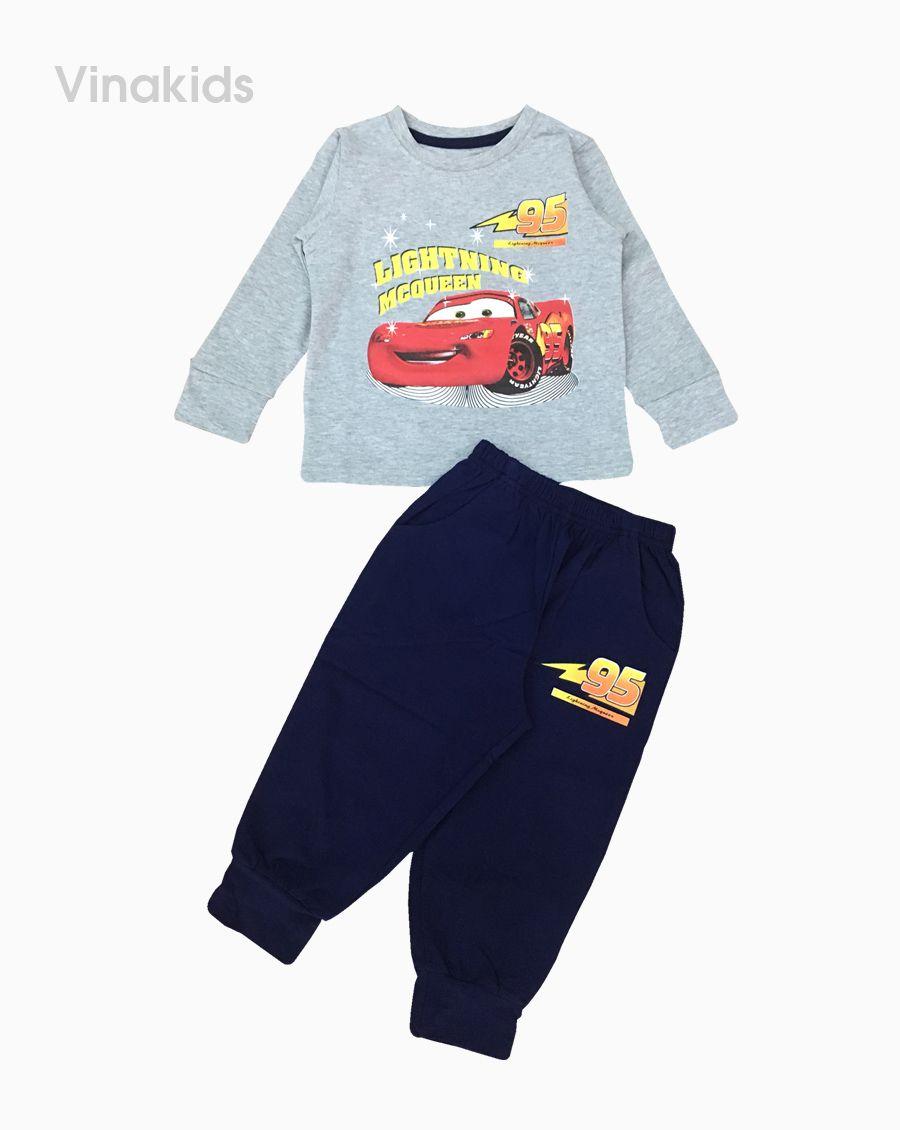 Đồ bộ bé trai họa tiết ô tô MC màu ghi (1-7 tuổi)