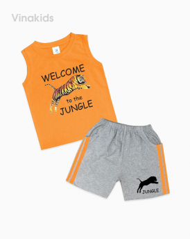 Đồ bộ bé trai in hổ màu cam size đại