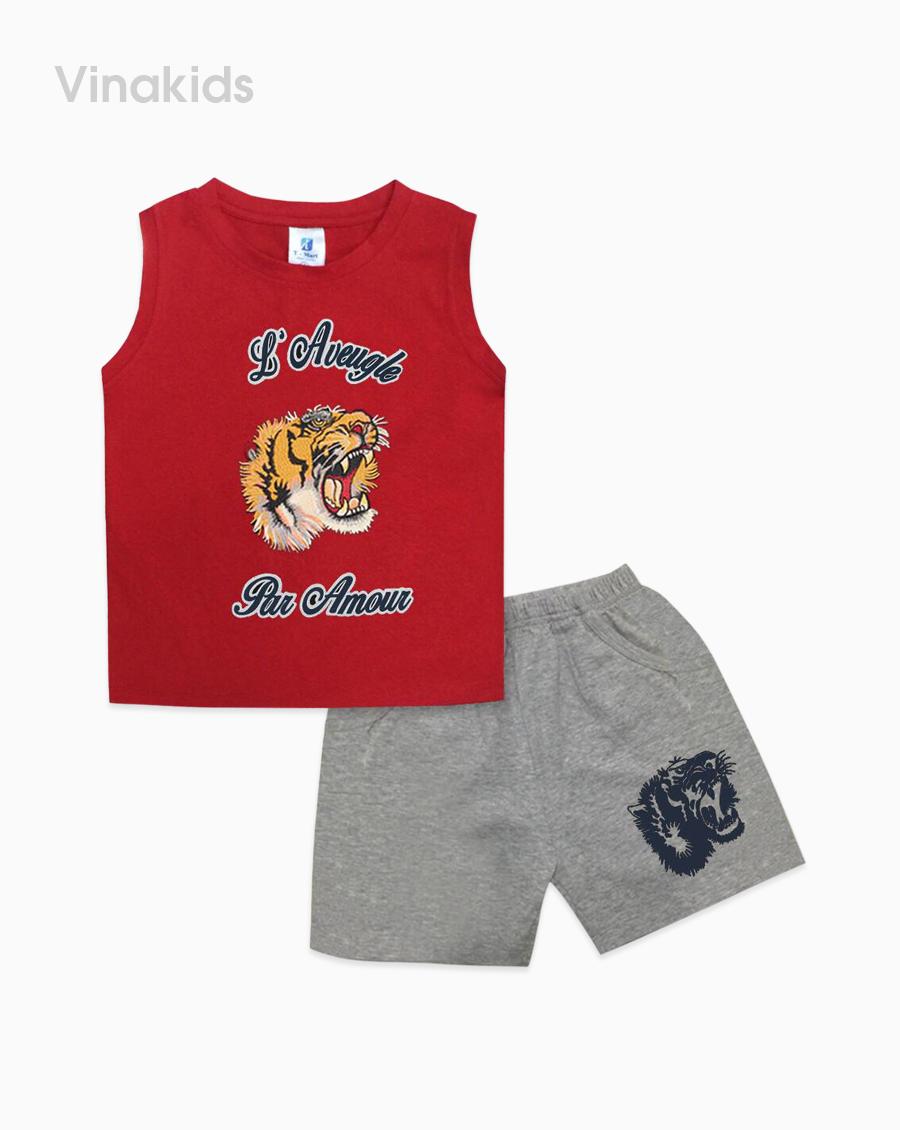 Đồ bộ bé trai in mặt hổ màu đỏ size đại