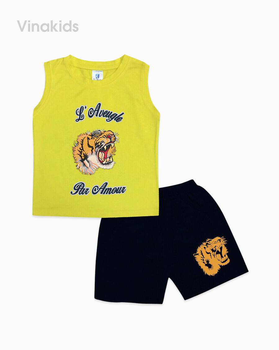Đồ bộ bé trai in mặt hổ màu vàng size nhí