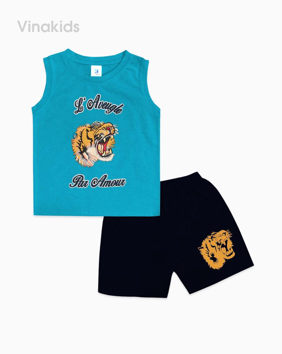 Đồ bộ bé trai in mặt hổ màu xanh dương size nhí