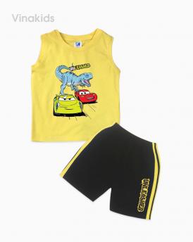 Đồ bộ bé trai khủng long và ô tô màu vàng