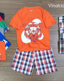 Đồ bộ bé trai mặt hổ quần kẻ màu cam (4-11 tuổi)