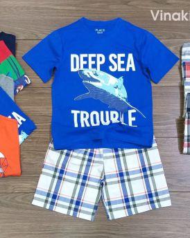 Đồ bộ bé trai hình cá mập quần kẻ màu màu xanh (4-11 tuổi)