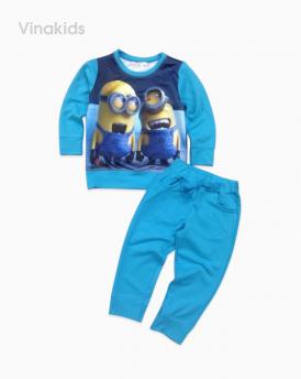 Đồ bộ bé trai minions 3D màu xanh ngọc in 2 mặt