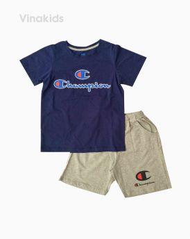 Đồ bộ bé trai ngắn tay Champion màu tím than size 7-12 tuổi