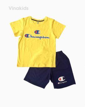 Đồ bộ bé trai ngắn tay Champion màu vàng size 7-12 tuổi