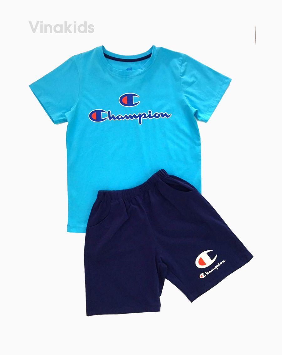 Đồ bộ bé trai ngắn tay Champion màu xanh size 7-12 tuổi