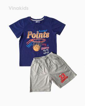 Đồ bộ bé trai ngắn tay Points màu tím than (7-12 tuổi)