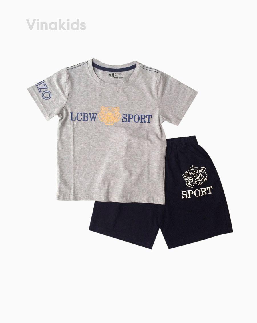 Đồ bộ bé trai ngắn tay mặt hổ Sport màu ghi size 7-10 tuổi