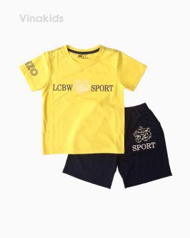 Đồ bộ bé trai ngắn tay mặt hổ Sport màu vàng size 7-10 tuổi